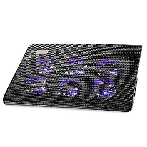JASZW Laptop-Kühlpad mit 6-Gang-Einstellbaren Lüftern, ultraschlanker Notebook-Kühler, Quiet Chill Mat für 9-16 Zoll Laptops, 2 USB-Anschlüsse für Daten und Aufladen -