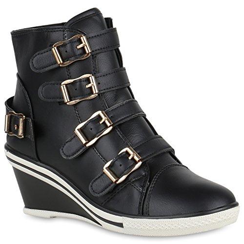 Stiefelparadies Damen Sneakers Leder-Optik Sneaker Wedges Keilabsatz Schuhe Profil 149990 Schwarz Schnallen 39 Flandell