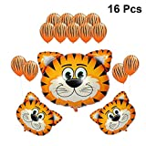 Fenical Palloncini con Testa di Animale Palloncini con stagnola di Tigre Palloncini in Lattice Foto Puntelli Decor 1 Set per 16 Pezzi