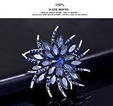 Yazilind Fashion big Rhinestones en Fleurs Alliage Zirconia Broche Corsagee Femmes Filles Accessoires (Encre Bleu)