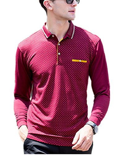 BOMOVO Herren Polo Top Shirt langärmlig Longsleeve Rot