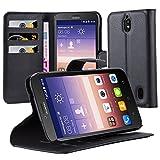 Cadorabo Hülle für Huawei Ascend Y625 - Hülle in Phantom Schwarz – Handyhülle mit Kartenfach und Standfunktion - Case Cover Schutzhülle Etui Tasche Book Klapp Style