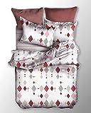 DecoKing 03770 Bettwäsche 135x200 cm Kinderbettwäsche mit 1 Kissenbezug 80x80 Bettwäscheset Bettbezüge Microfaser Bettwäschegarnituren Reißverschluss Basic Collection Romb weiß grau rosa rot Bordeaux
