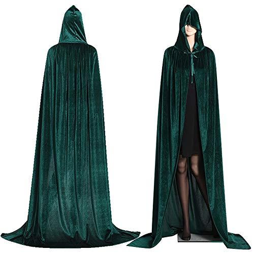 Comtervi Umhang mit Kapuze Lange Cape Vampir Kostüm Halloween Erwachsener Unisex (Grün, M)