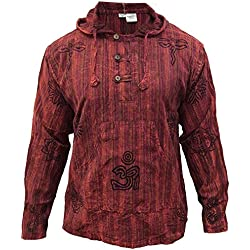 SHOPOHOLIC FASHION Hombre Prelavado Rayas Capucha Hippy Camisa de Abuelo - Granate, XXL