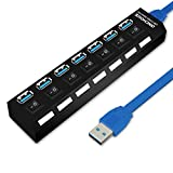 ONCHOICE USB 3.0 Hub 7 Ports Mit 100cm USB Kabel Ultra Slim Verteiler Superspeed USB Adapter LED Anzeige mit Energiespar Schalter für PC, Laptop, Notebook, Computer, Windows, Apple MacBook