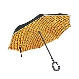 XiangHeFu Double Layer seitenverkehrt Rückseite Regenschirme Gelb Wolle Textur Bay Faltbar Winddicht UV-Schutz Big Gerade für Auto mit C-Förmigem Henkel