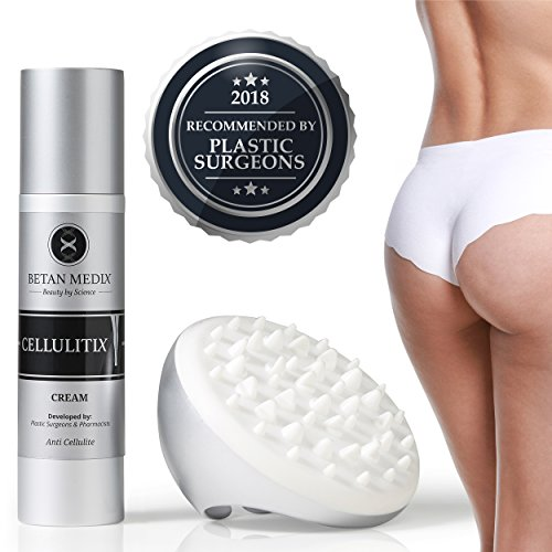 CellulitiX® Innovative 3-1 Formel Anti-Cellulite Creme mit GRATIS Cellulite Massagegerät | Orangenhaut & Dehnungsstreifen bekämpfen – schnell & effektiv | Klinisch getestet und von Experten entwickelt