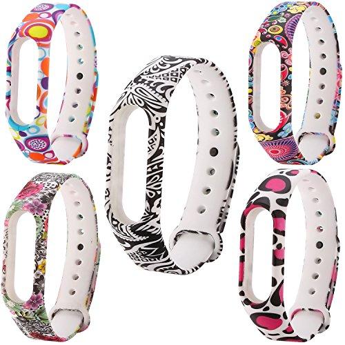 JIELIELE für Xiaomi Mi Band 2 Armband, Silikon Ersatzarmbänder Bänder Bunte Wristband für Xiaomi Mi Band 2 Fitnessarmband (5 Stück) -