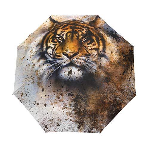 GraciasU Regenschirm, Tigerauge, doppelschichtig, automatisch, leicht, robust, Winddicht, kompakt, faltbar, Anti-UV-Regenschirm, für Reisen und Business