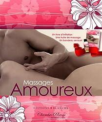Massages Amoureux : Coffret avec un livre + une huile de massage + un bandeau sensuel