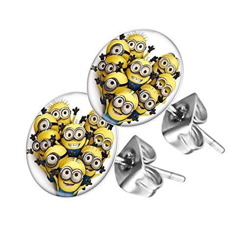 Piersando Ohrstecker Ohrringe Runde Kleine Stecker für Damen oder Kinder Silber mit Minions Familie Motiv