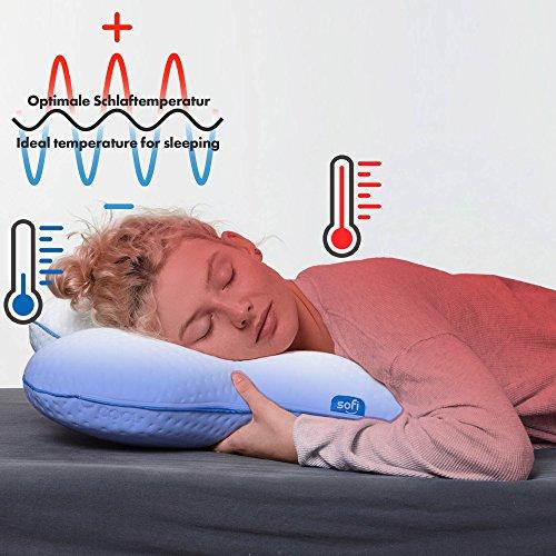 sofi oreiller inclinable latéral - Coussin orthopédique et ergonomique pour le cou; Coussin de pression - mousse à mémoire viscoélastique compensée; Référence thermorégulatrice (56 x 48 x 14 cm) image 2