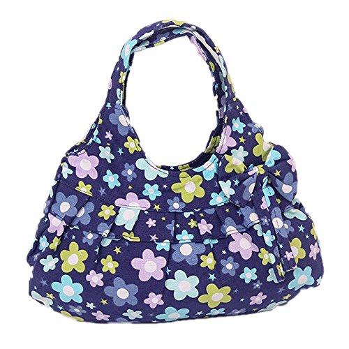 DELEY Frauen Leinwand Bowknot Rüschen Floral Gedruckt Tote Handtasche Umhängetasche Einkaufen Tasche Blaue Pflaumenblüte