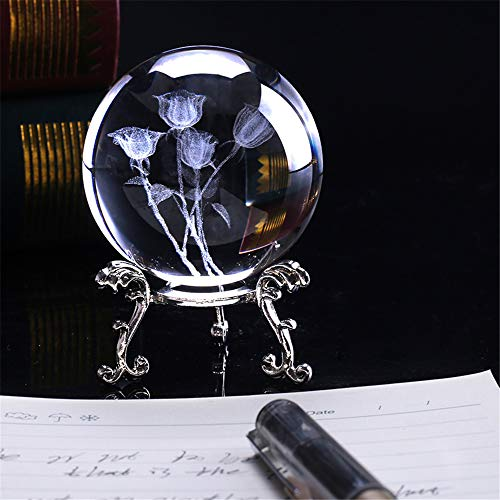 Lucky House 60mm 3D Lasergravuranlage stieg vierblättrige Klinge Löwenzahn Lotus Kristallkugel Miniatur Blume Glaskugel Heimtextilien Dekoration (Rose 1) - Quarz-kristall-globus