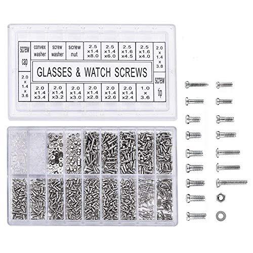 XZANTE 1000 Stück Edelstahl Brillen Uhr Reparatur Schraube Ersatz Kit Set Winzige Schrauben Nuss Sortiment Repair Tool Kit Set