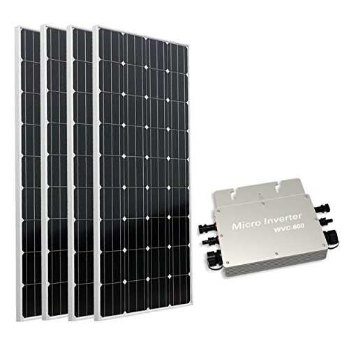 ECO-WORTHY 600W auf Grid Tie Solar Panel System: 4 160 W Mono Solarmodul W/600 W Wasserdicht Grid Tie Power Inverter für Home Backup Power