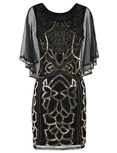 PrettyGuide Damen Flapper Kleid 1920s Gatsby Inspiriert Paillette Art Deco Mit Umhang M Gold (Mesh-cape)