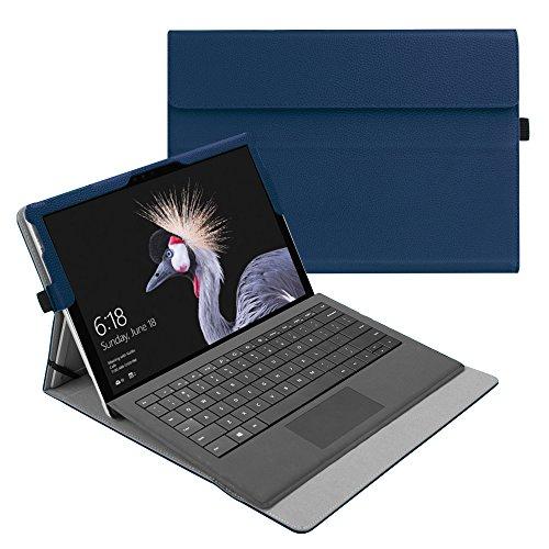 Fintie Hülle für Microsoft Surface Pro 6 (2018) / Pro 5 (2017) / Pro 4 / Pro 3 - Multi-Sichtwinkel Hochwertige Tasche Schutzhülle aus Kunstleder, Type Cover kompatibel, Marineblau