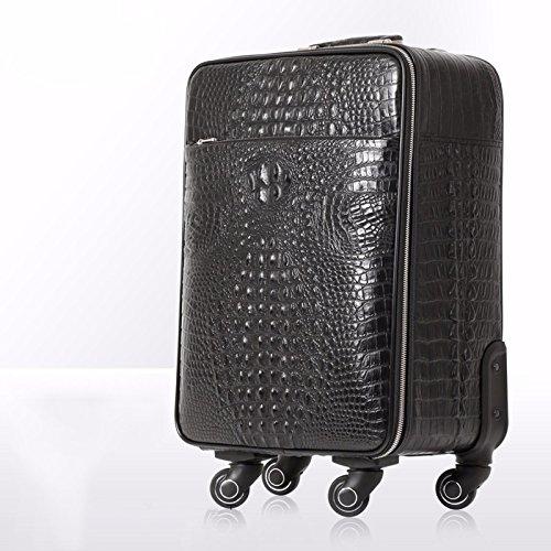 hoom-premiere-couche-valise-trolley-roulettes-valise-en-cuir-noir-h37l38w20-cm-motif-crocodilecross