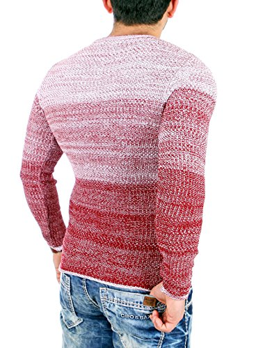Reslad Strickpullover Herren Color-block Winter Pullover RS-3106 Bordeaux
