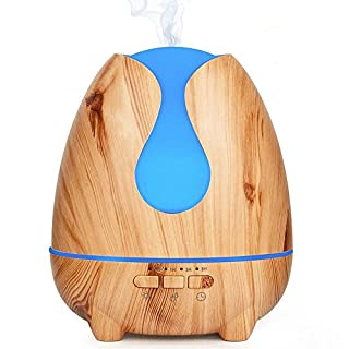 XIHAA 500Ml Wood Grain Aroma Essential Oil Diffuser Ultrasonic Air Humidifier 7 Color Changing LED Lights Timer Setting, Waterless Auto Shut-Off Function Office, Baby Room, Bedroom For Home,Asaki