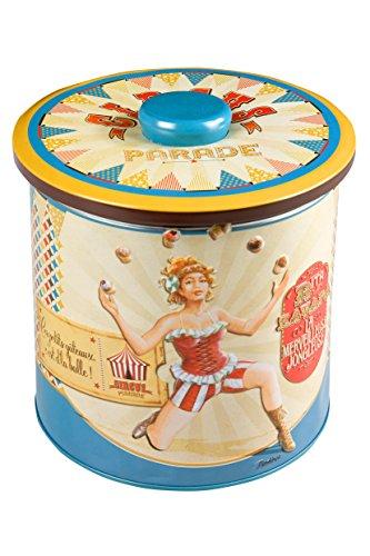 NATIVES 511440 Circus parade-Le jongleur Boîte à biscuit Métal Multicolore 15 x 15 x 15 cm
