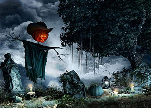 Spielzeug -Artistic9 Halloween Hintergrund Fotografie Friedhof Skelett Schädel Vollmond Geist Halloween Party Kulissen Photoshoot Requisiten Stand Spooky Halloween Decor 59x35 (Iron Mann Kostüm Baby)