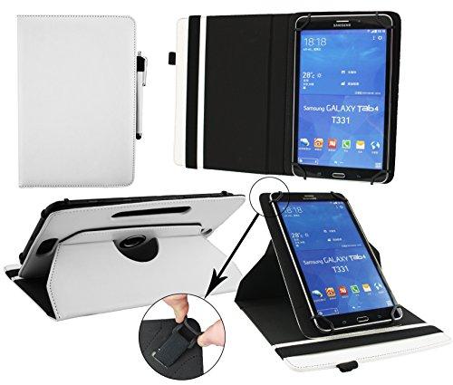 Emartbuy® Medion LifeTab S7852 7.85 Zoll Tablet Universal (7-8 Zoll) Weiß PrämiePULeder360GradrotierendeStandFolioGeldbörseTascheHülle + Weiß Eingabestift