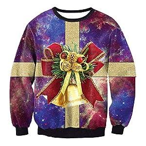 Damen Weihnachtspullover Rundhals Langarm Lustig Christmas Sweater 3D Geschenkbox Drucken Sweatshirt Neuheit Top
