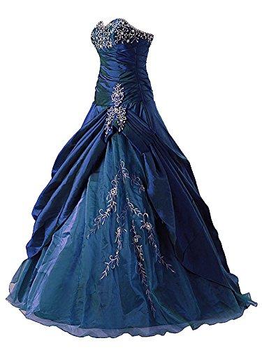 Vantexi Frauen Taft Liebsten Abendkleid Ballkleid Partykleid Blau