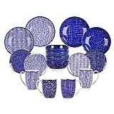 Vancasso TAKAKI 16pcs Service de Table Porcelaine 4pcs pour Assiettes Plate, Assiette à Dessert, Bol à Miso, Mug Tasse à Thé, Style Japonais Asiatique 4 Motifs pour 4 Personnes...