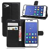 Tasche für Lenovo ZUK Z2 (5 zoll) Hülle, Ycloud PU Ledertasche Flip Cover Wallet Case Handyhülle mit Stand Function Credit Card Slots Bookstyle Purse Design schwarz