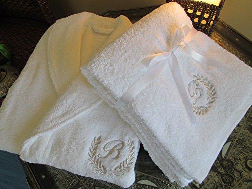 Top Qualität Hotel Edition Set Bademantel + Badetuch mit Gold/Silber personalisierbar, 100 % Baumwolle, Embroidery Silver, Bathrobe L