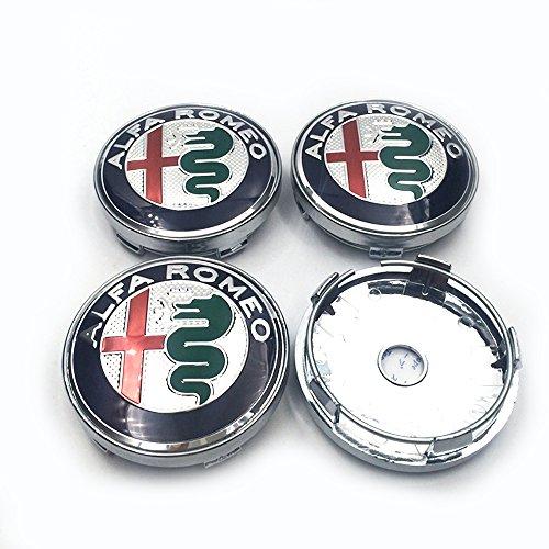 HANWAY 4 Pcs 60 mm 6 cm Centre de Bouchon de moyeu de Roue Alfa Romeo Coque Alfa Romeo Emblème Badge Autocollant Chrome