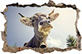 Lustiges Portrait einer Kuh Wanddurchbruch im 3D-Look, Wand- oder Türaufkleber Format: 92x62cm, Wandsticker, Wandtattoo, Wanddekoration