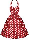 DATO Rockabilly 50er Vintage Retro Audrey Hepburn Polka Dots Kleid Schlank Großen Rock Ballettröckchen Neckholder Petticoat Faltenrock, Rot S