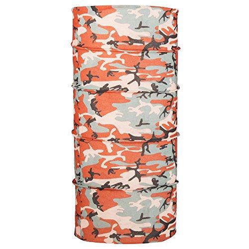 Autofy Unisex Camouflage Print Lycra Headwrap Bandana for Bikes (Orange and Peach Freesize)