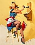 Vintage Pin Ups GIL ELVGREN A Saucy Call * 250gsm Art Card Gloss Reproduction Poster