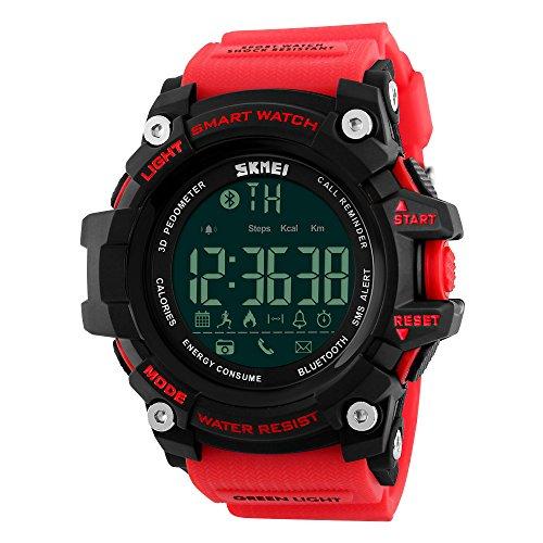 Vemupohal Reloj Inteligente LED Digital Para Hombre SmartWatch 50M Resistente al Agua Deportivo Estilo Milita Reloj de Pulsera llamada SMS Notificaci¨®n LED Pod¨®metro
