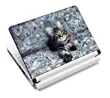 Luxburg® Design Aufkleber Schutzfolie Skin Sticker für Notebook Laptop 10 / 12 / 13 / 14 / 15 Zoll, Motiv: Katze auf Geldscheinen