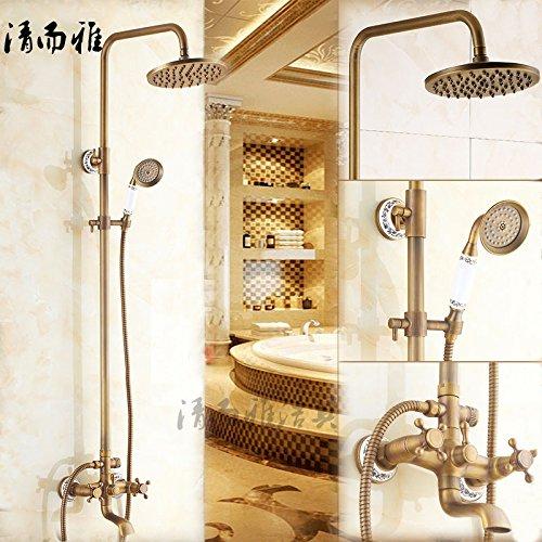 Jduskfl Wasserhahn Duscharmatur F6Shower Die Lieferung Von Gold-Plated Dusche Kit Messing Antique Shower Golden Shower - Kit-gold Plated