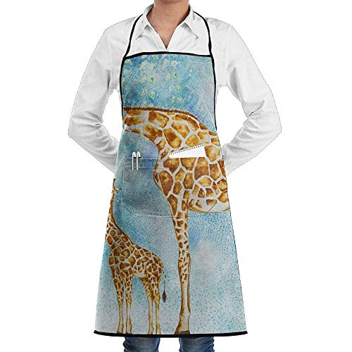 Kotdeqay Giraffes Watercolor Unisex Recommended Apron Creative Aprons,Wear and Fall in Love