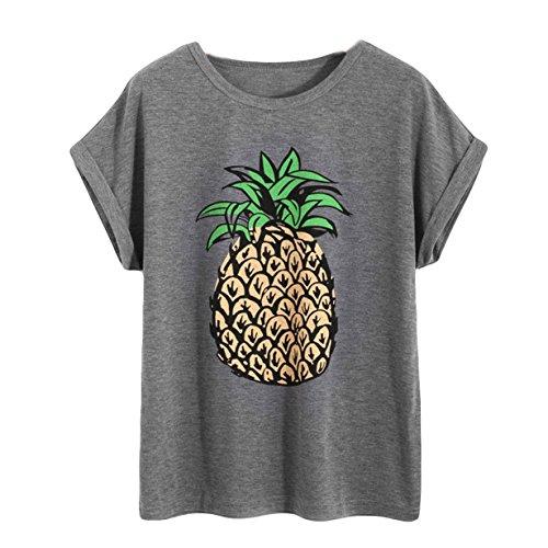 Loveso Damen Ananas Muster T Shirt Kurzarm Sommer Tee Grau Taschen Baumwoll Tops Streetwear