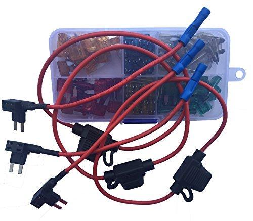 KOLACEN Automotive Auto LKW Mini Blade Typ Sicherung Assorted Kit 120 Stück + 3 Stück Inline 16 Gauge Mini Sicherungshalter + 3 Stück 16 Gauge Add-a-Schaltung Sicherung TAP Adapter (16-gauge-box)