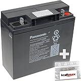 1x Panasonic 12V / 20Ah AGM Blei-Akku - LC-P1220P [ M5 Gewinde ] inkl. 2x Original Kraftmax Anschluß-Adapter