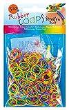 folia 339577 - Rubber Loops Streifen, inklusive 25 S - Clips und 1 Häkelnadel, 500 Gummibänder, bunt