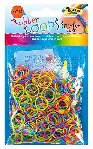 (folia 339577 - Rubber Loops Streifen, inklusive 25 S - Clips und 1 Häkelnadel, 500 Gummibänder, bunt)