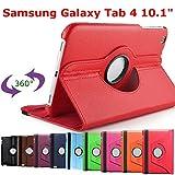 HTM Rouge Samsung Galaxy Tab 4 10.1 Pouces T530/T531/T535/T5310 1 Stylet Offert- Housse Pochette Multi Angle ROTATIVE 360 - Nombreuses Couleurs Disponibles - Coque Etui en PU Cuir, Rotation à 360°
