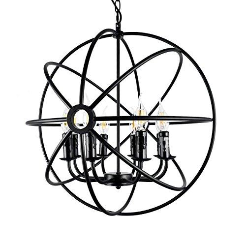 WSXXN Retro Schmiedeeisen Globe Cage Kronleuchter Industrielle Suspension Anhänger Acht Lichter E12 / E14 Lampensockel Bar Restaurants Coffee Shop Club Dekoration - Acht Licht-anhänger Kronleuchter
